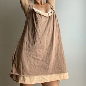 Topshop tan cotton loose mini dress.